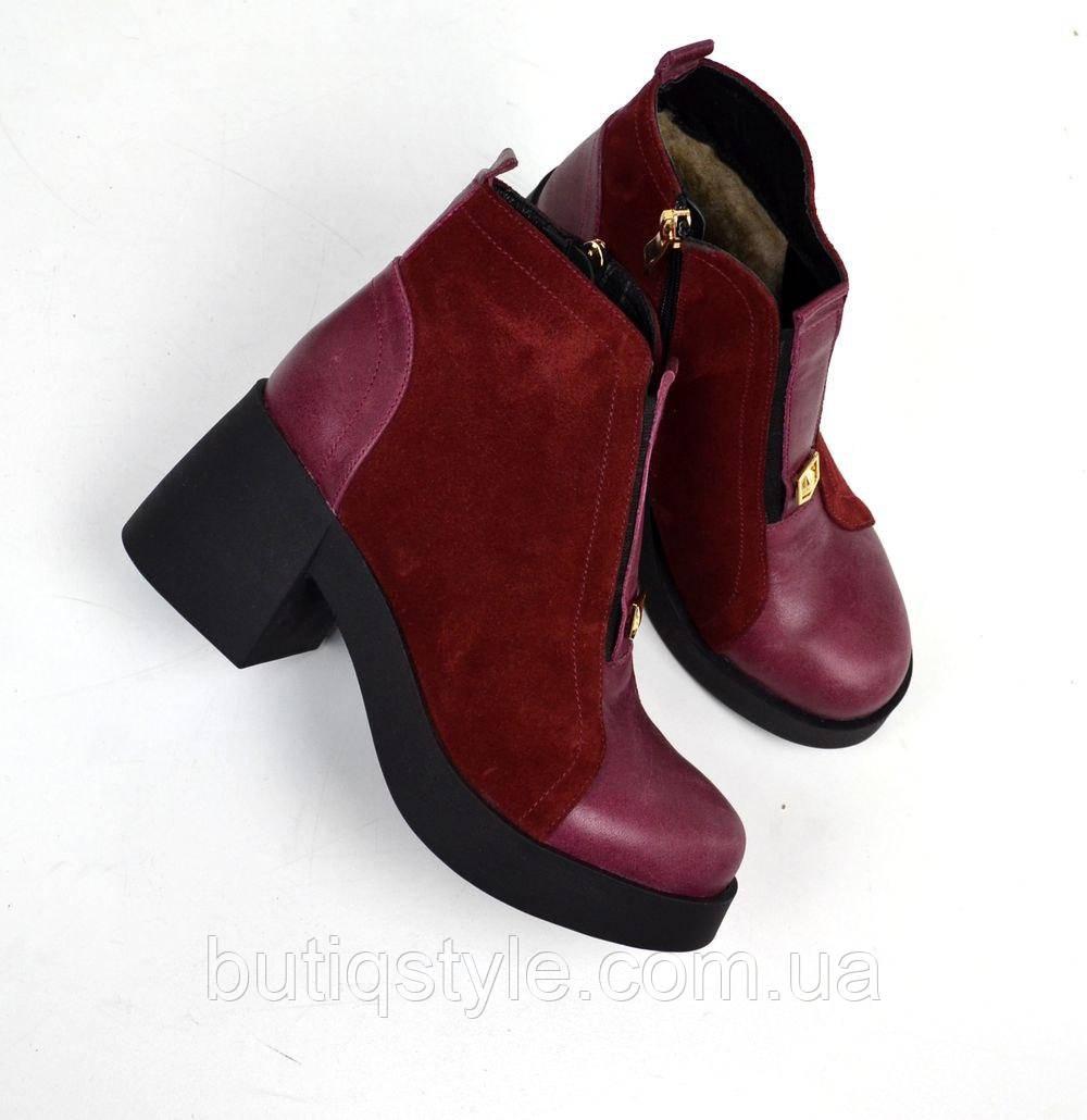 40, 41 размер! Зимние ботиночки  с расклешенным каблуком марсаловые