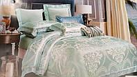 Комплект роскошного, благородного, шелкового постельного белья из жаккардового шелка салатовый