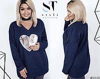 Очень теплый и мягкий свитер-туника украшен пайетками
