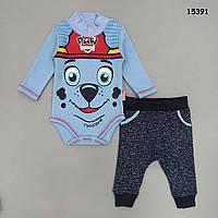 """Утепленный боди """"Щенячий патруль"""" и штанишки  для мальчика. 68, 74, 80 см"""