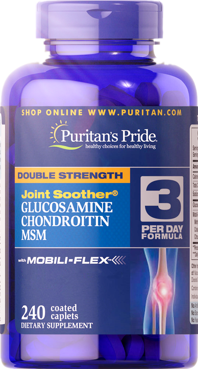Puritan's Pride Double Strength Glucosamine, Chondroitin & MSM Joint Soother 240 Caplets
