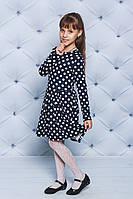 Трикотажное платье для девочки синие Горох