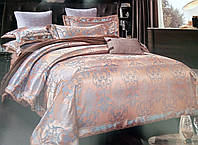 Комплект роскошного, благородного, шелкового постельного белья из жаккардового шелка красное золото