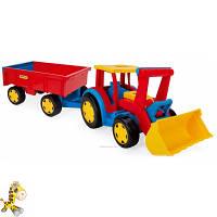 Большой игрушечный трактор Гигант с прицепом и ковшом