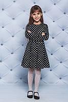 Трикотажное платье для девочки черное Горох