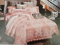 Комплект роскошного, благородного, шелкового постельного белья из жаккардового шелка нежно персиковый