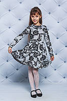 Трикотажное платье для девочки серое