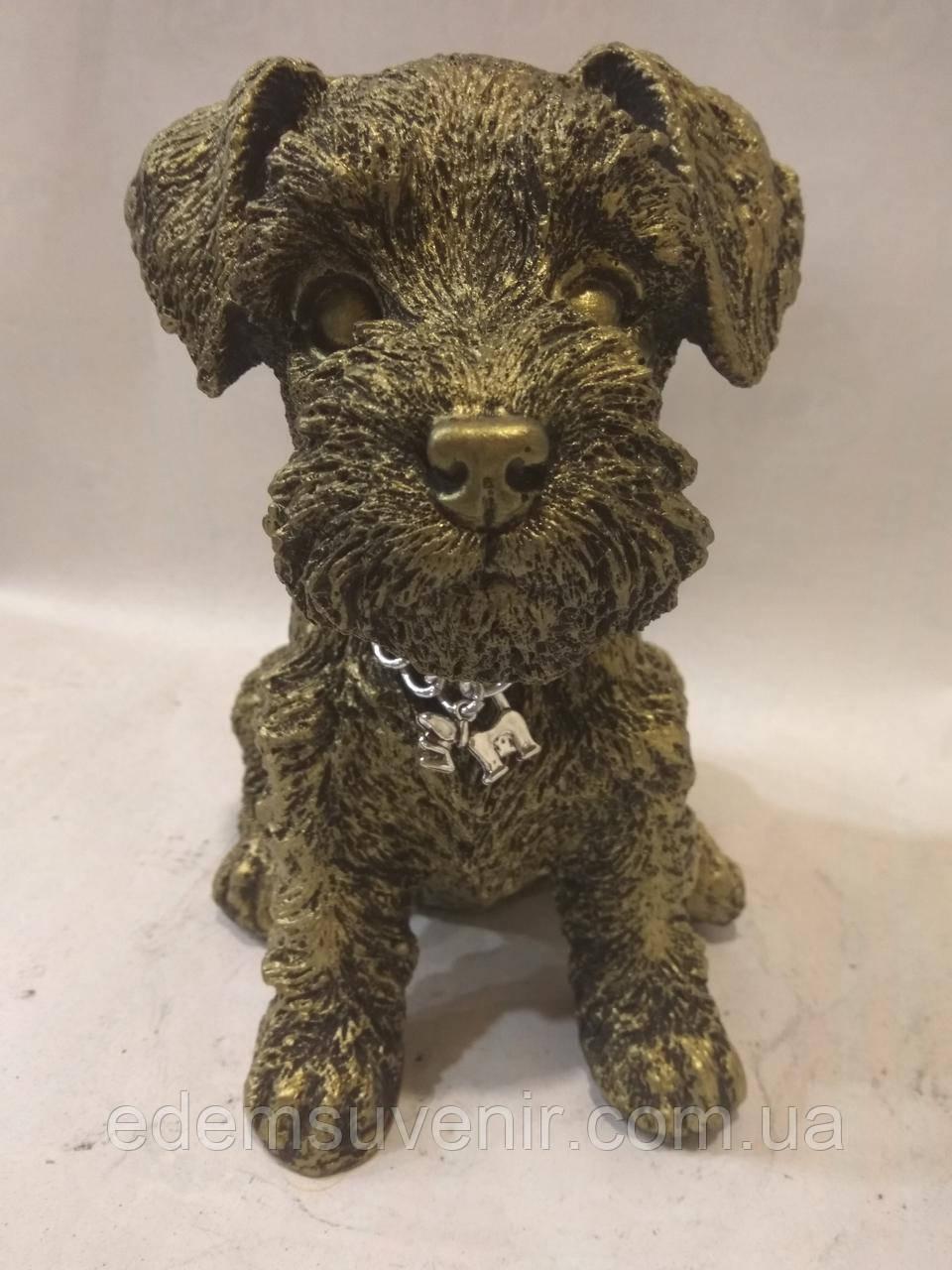 Статуэтка (копилка) щенок Шнауцера золото