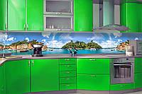 Кухонный фартук Природа (наклейки виниловые на стену природа, кухонная наклейка море, океан)