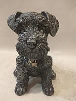 Статуэтка (копилка) собака щенок Шнауцера серебро