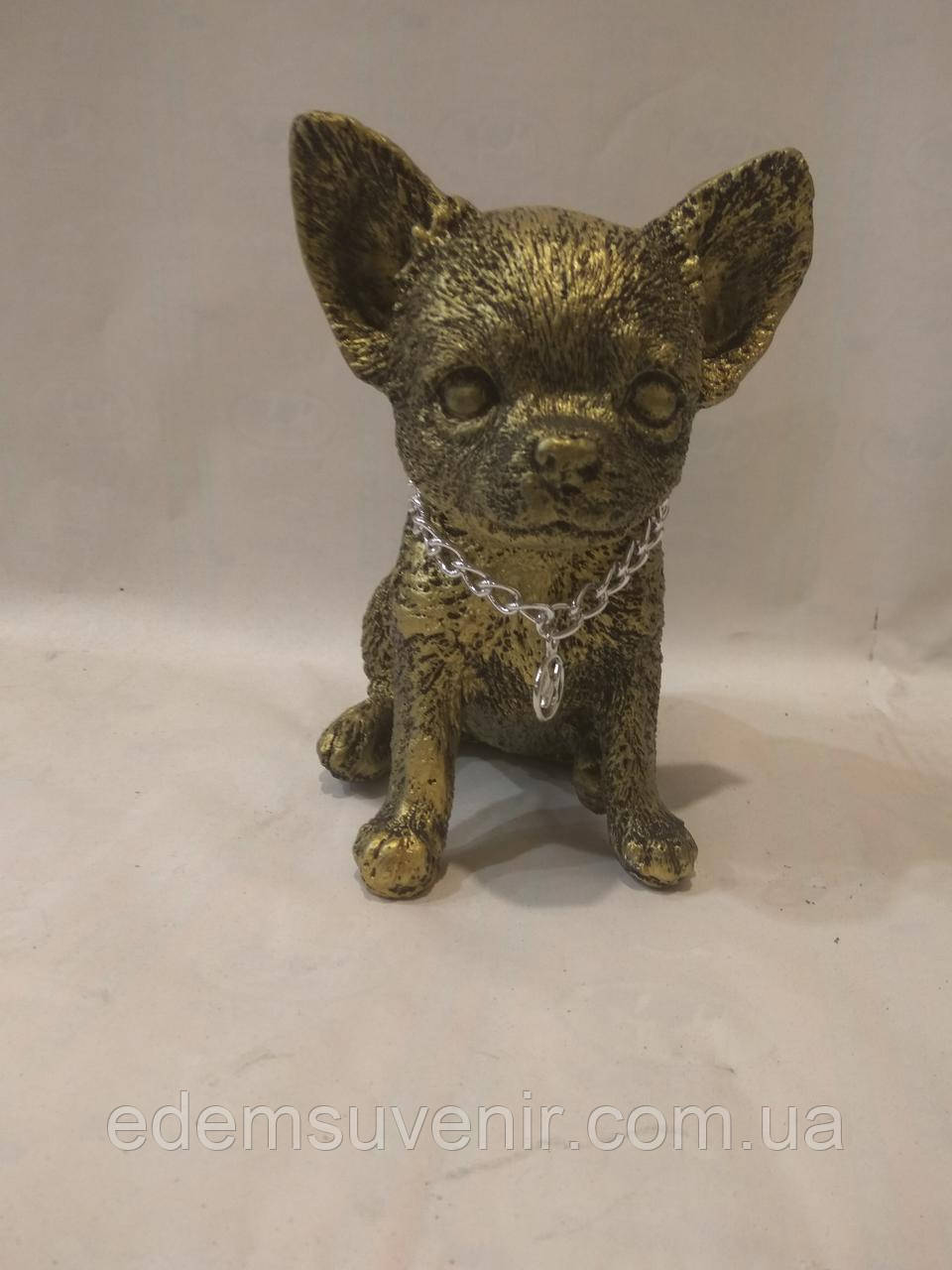 Статуэтка (копилка) щенок Чихуа золото