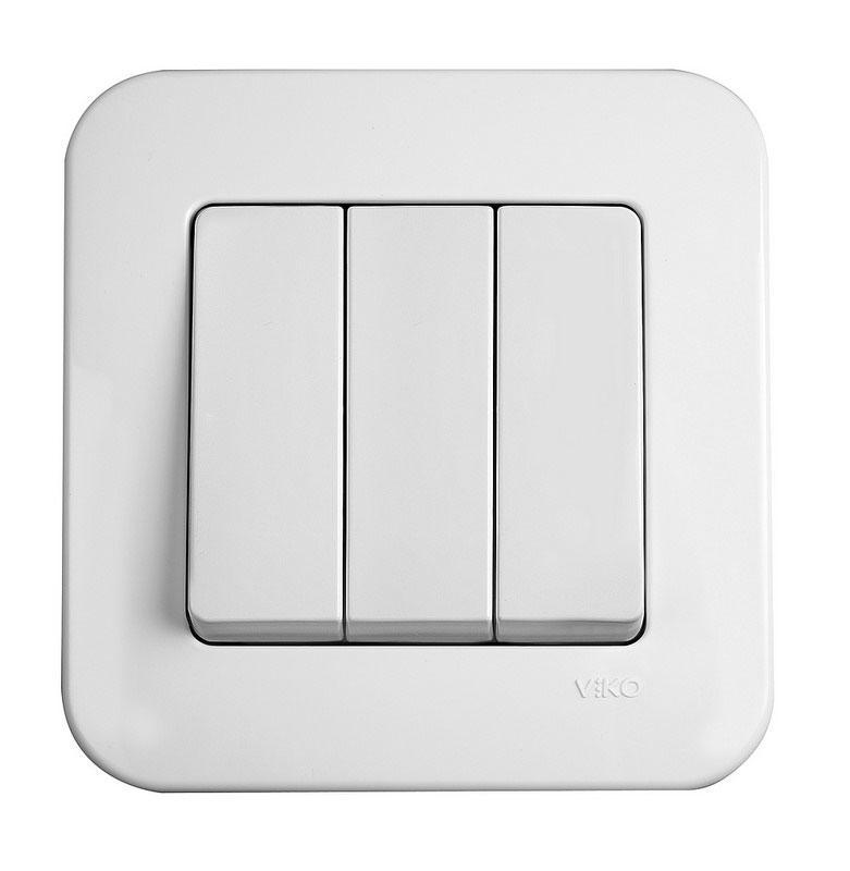 Выключатель трехклавишный VIKO Rollina Белый 90420068