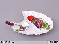 Блюдо с вилкой Lefard Баклажаны 24х18х3 см, 178-850