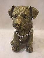 Статуэтка (копилка) собака щенок Джек рассел золото