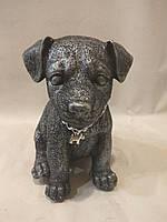 Статуэтка (копилка) собака щенок Джек рассел серебро