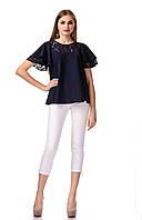 Женский трикотажный блузон с кружевом. Модель К077_синий., фото 1
