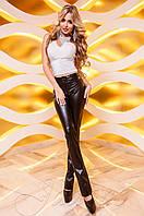 Черные кожаные  брюки Локси Jadone Fashion 42-48 размеры