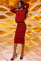 Женский костюм с юбкой Карис красный