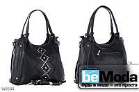 Удобная и модная женская сумка Pigeon из качественной эко-кожи с  декоративным орнаментом черная