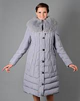 Зимний длинный пуховик-пальто стеганное в размерах 46-56