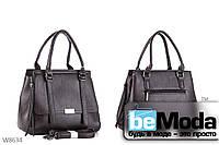 Элегантная и очень удобная женская сумка Kiss me с оригинальной декоративной прострочкой кофейного цвета