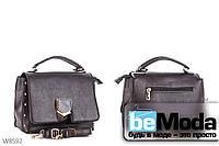 Очень стильная и удобная женская сумка Kiss me с эко-кожи с декоративной пряжкой кофейного цвета