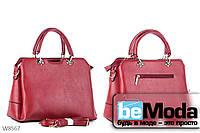 Деловая качественная женская сумка Kiss me с металлическим декором красная