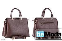 Деловая качественная женская сумка Kiss me с металлическим декором кофейного цвета