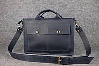 Мужской кожаный портфель | Синий Винтаж , фото 1