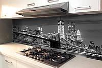 Кухонный фартук Ночной город (виниловые наклейки ночной город, черно белый фон, мост на стену, интерьерная)