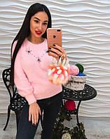 Теплый свитер из ангоры пушистый зайка, фото 1