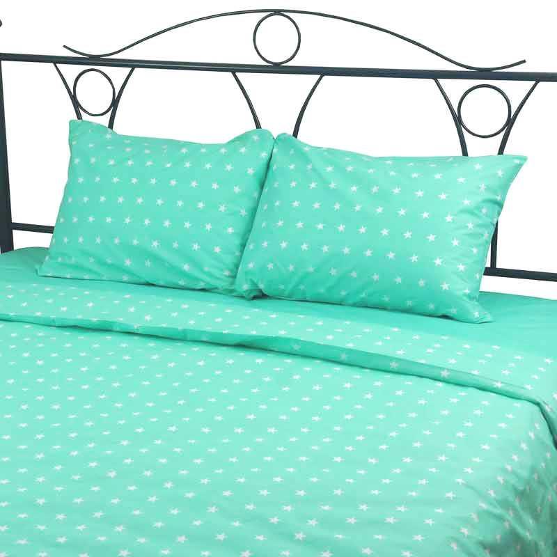 Постельное белье Звезды белые на мятном ранфорс ТМ Царский дом в кроватку
