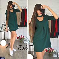 074b2f599ba Красивое зеленое платье свободного кроя под горло с вырезом на груди.  Арт-11110
