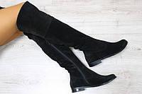 Сапоги-ботфорты женские демисезонные, материал - натуральная замша, цвет - черный