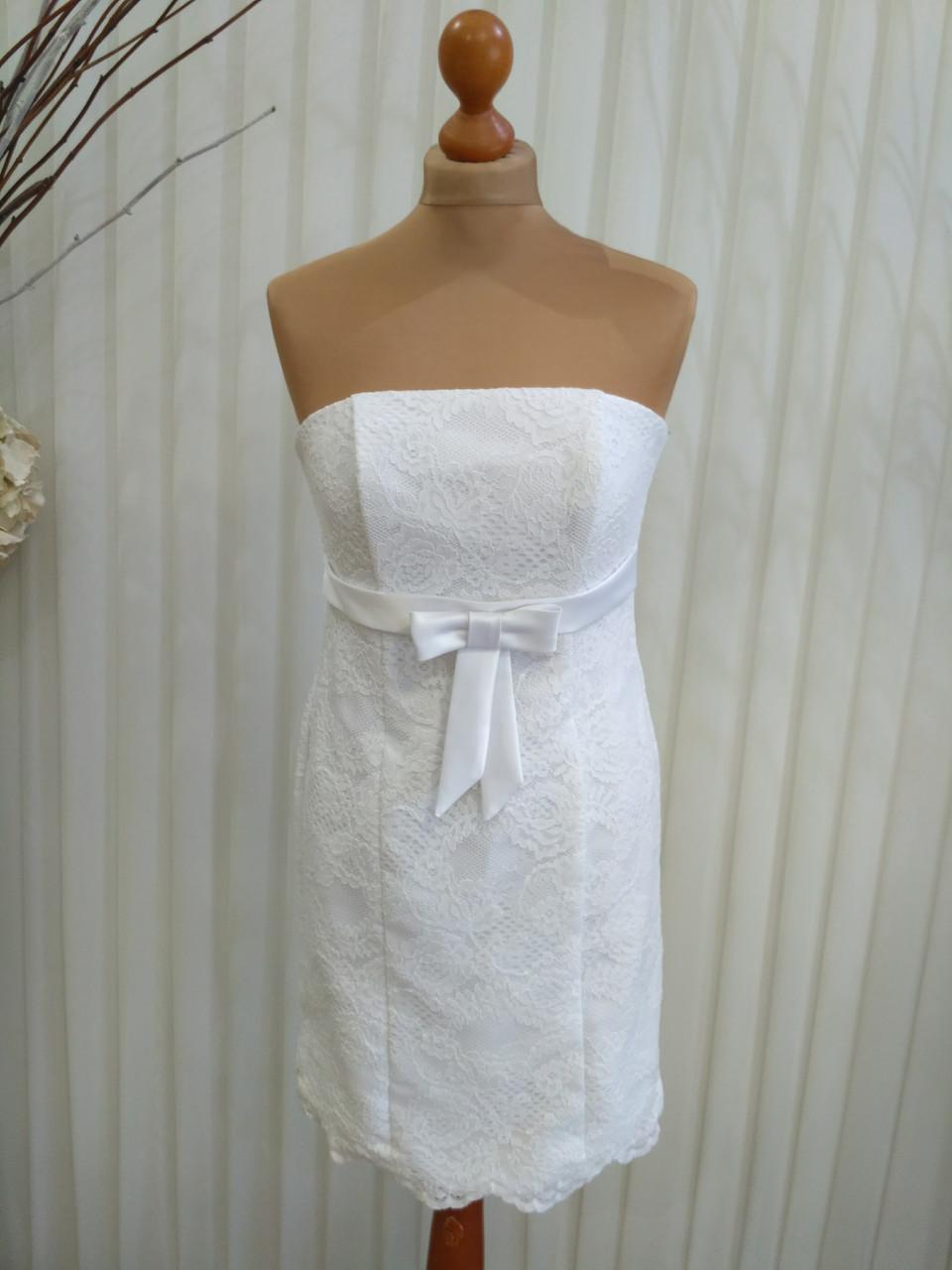 Короткое белое кружевное свадебное платье, 46р