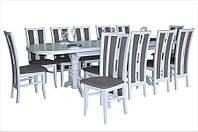 Стол обеденный ПРЕСТИЖ 200(+40+40) белый