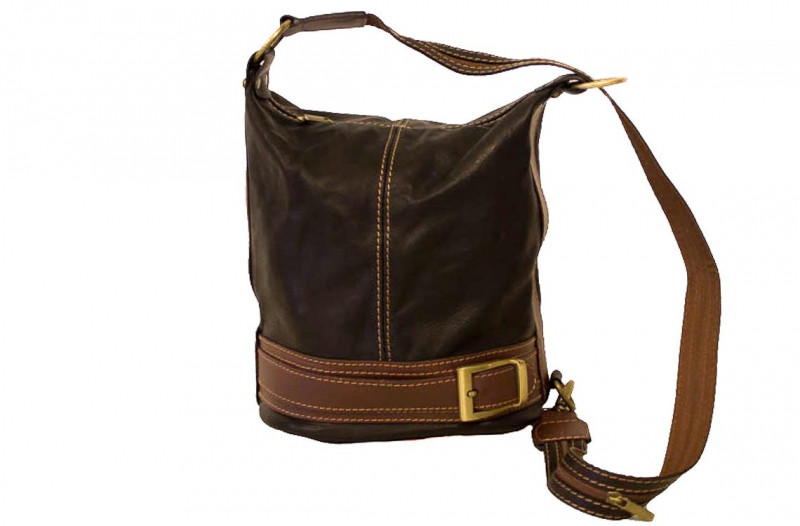 758a372eb31a Женская кожаная сумка DIVAS INGRID S6940 черная с коричневым - Интернет  магазин