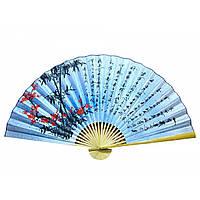 """Веер настенный """"Сакура с бамбуком на голубом фоне с иероглифами"""" шелк (90см)"""