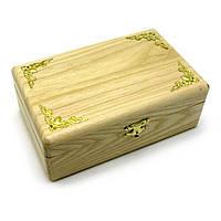 Шкатулка с золотыми уголками, массив дерева (20,5х13х7,5)