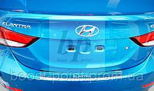 Защитная хром накладка на задний бампер с загибом Hyundai elantra ad (хюндай/ хендай елантра ад 2015г+)