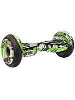 """Гироборд Smart Balance Wheel 10.5"""" Premium 2017 Граффити Зеленый, TaoTao App., Самобаланс, до 20км/ч, 2 часа н"""