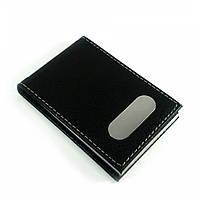 Визитница черная кожаная с магнитным замком (9х6,5х1,5 см)