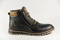 Зимние мужские ботинки, полуботинки черные натуральная кожа GT1H