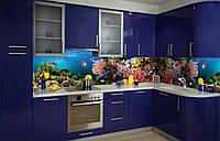 Кухонный фартук Аквариум (рыбки на кухню, морская тема, виниловые наклейки, наклейка на стену, декор кухни)