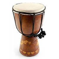 Барабан резной дерево с кожей (20х11х11 см)