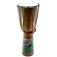 Барабан расписной дерево с кожей  (50х19х19 см)