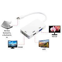 Конвертер с mini Displayport на HDMI, VGA, DVI на в преобразователь переходник Apple MacBook проекто, фото 1