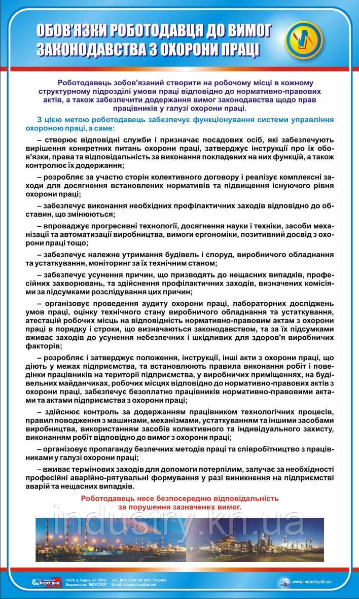 Стенд. Обов'язки роботодавця до вимог законодавства з охорони праці. 0,6х1,0. Пластик