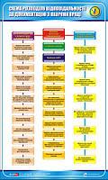 Стенд. Схема розподілення відповідальності за документацію з охорони праці. 0,6х1,0. Пластик
