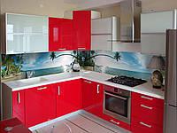 Кухонный фартук Остров (наклейка виниловая на стену, пальма, океан, море, наклейки на стены, солнце пляж)